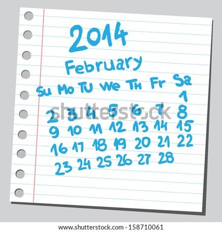 Calendar 2014 february (sketch style)  - stock vector