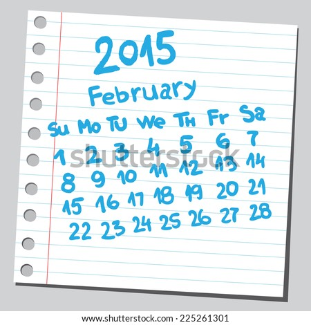 Calendar 2015 february (sketch style)  - stock vector