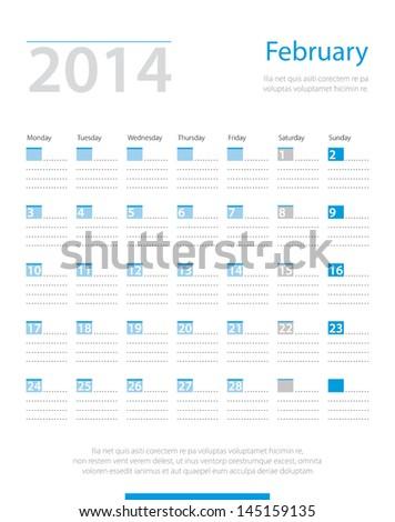 Calendar 2014, february. Vector. - stock vector