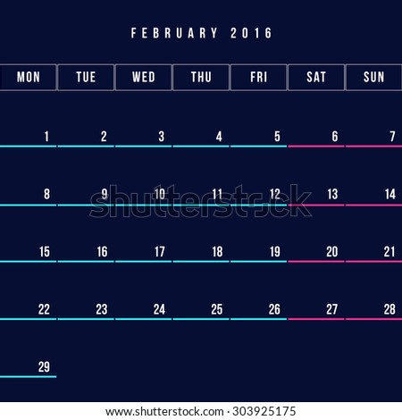 Calendar February 2016 vector design template - Minimalism Style