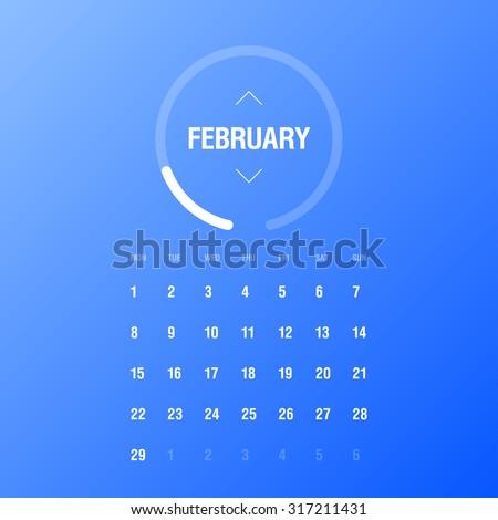 Calendar 2016. February. Week Starts Monday - stock vector