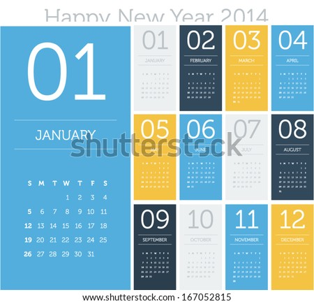 Calendar 2014 - flat design color - stock vector