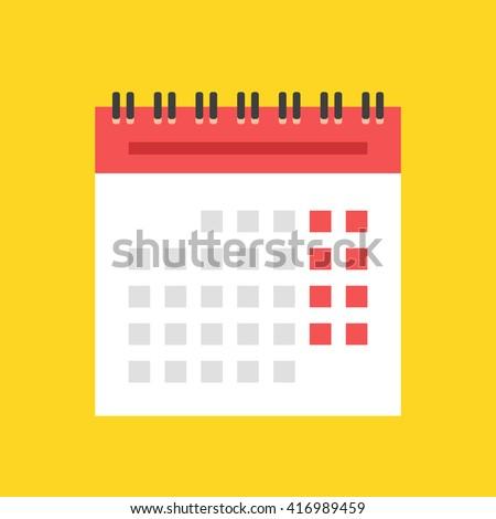 Calendar flat icon. European version. Spiral wall calendar vector illustration - stock vector