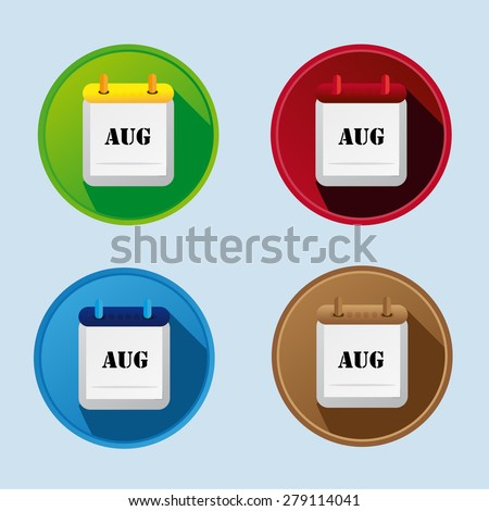 Calendar Flat Icon With More Variants August - stock vector