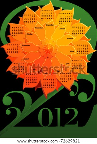 Calendar 2012 - Flower (German with holidays, Monday first) - stock vector