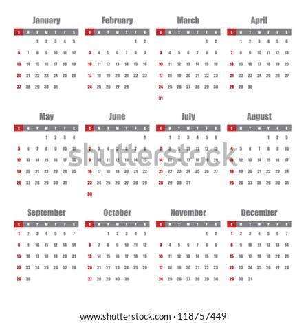 Calendar for 2013 - stock vector