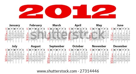 Calendar for 20012 - stock vector