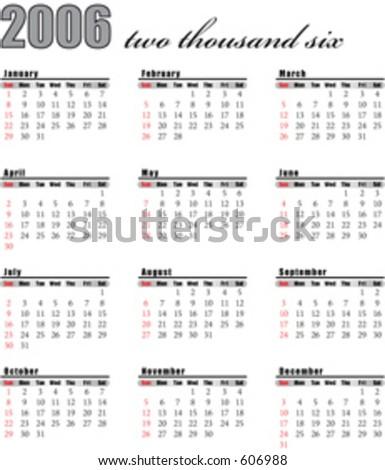 Calendar for 2006 - stock vector