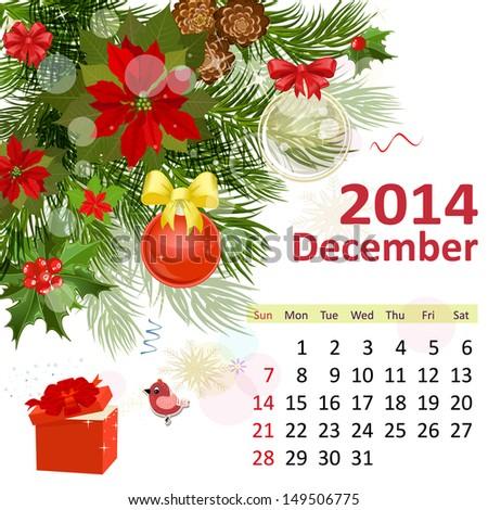 Calendar for 2014, Deceember - stock vector