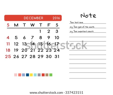 Calendar for December 2016. Week Starts Sunday. Clean and Simple Vector Template with pan tone color palette