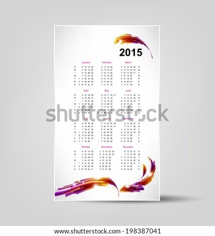 calendar for 2015, editable vector illustration, eps 10 - stock vector