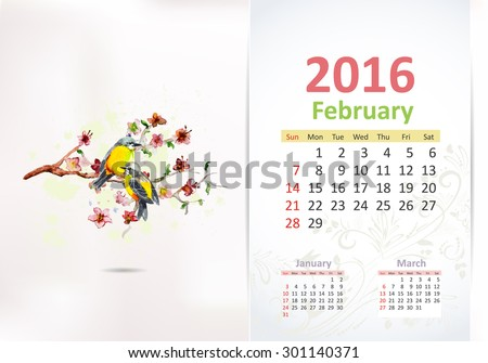 Calendar for 2016, february - stock vector