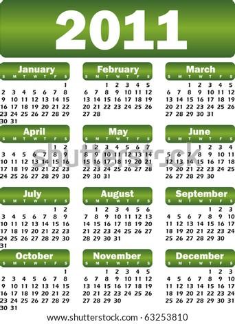 calendar for 2011 green - stock vector