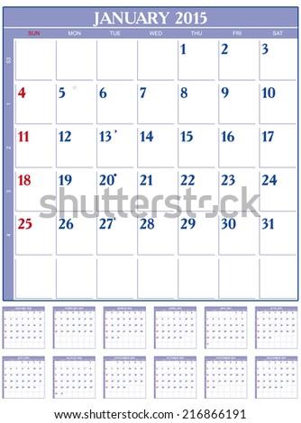 Calendar for 2015  in English - stock vector