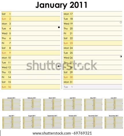 Calendar for 2011 in English - stock vector