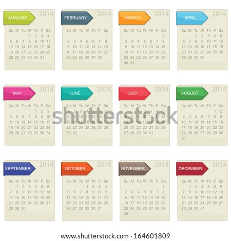calendar for 2014 in square design with tabs isolated on white, eps10 format - stock vector