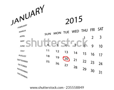 Calendar for January 2015, in perspective. Red marker circle for highlighting important dates. Simple illustration, isolated on white. - stock vector