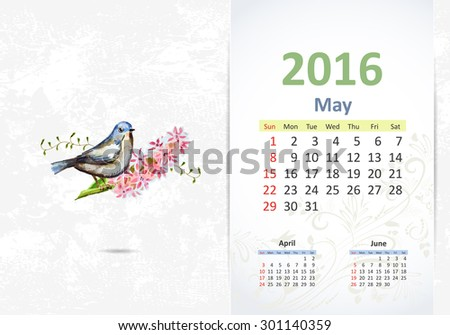 Calendar for 2016, may - stock vector