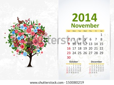 Calendar for 2014, November - stock vector