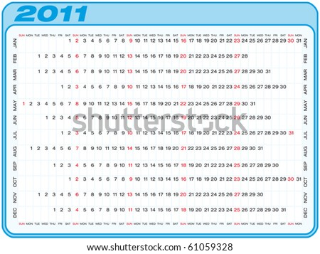 Calendar for 2011. Numbers within a grid. Horizontal design. - stock vector