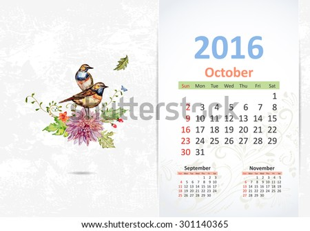 Calendar for 2016, October - stock vector