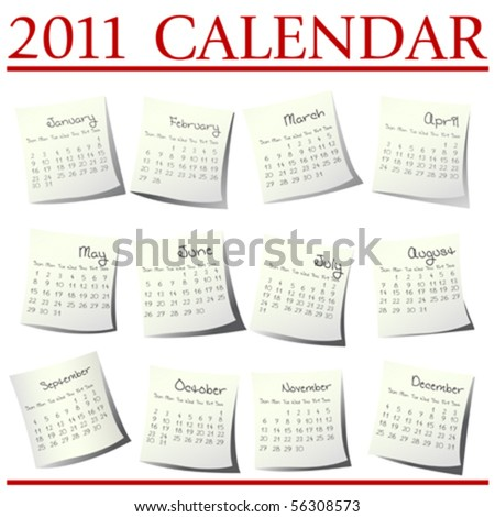 Calendar for 2011 on paper sheets - stock vector