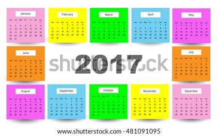 Calendar for 2017 on white background. Vector illustration.