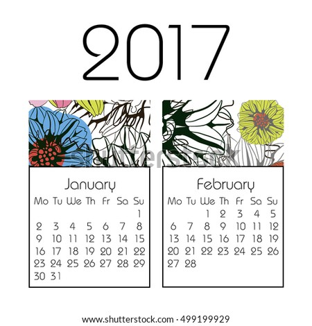 Calendar for 2017 on white background. Vector. Winter, January, February