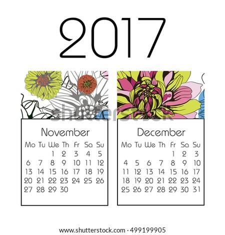 Calendar for 2017 on white background. Vector. winter, November, December