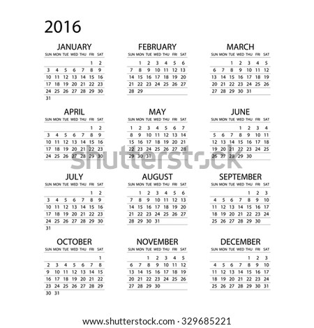 Calendar for 2016 on White Background. Week Starts Monday. Simple Vector Template ART - stock vector
