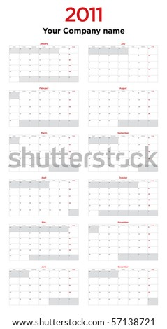 Calendar for 2011. Room besides each day, best printed in large formats. - stock vector