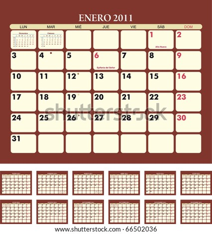 Calendar for 2011 (spanish language) - stock vector