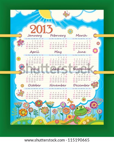 Calendar for 2013. The week starts with Sunday. Sunny day at the flower meadow. Little funny snake. - stock vector