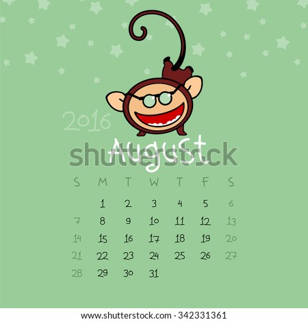 Calendar for the year 2016 - August - stock vector