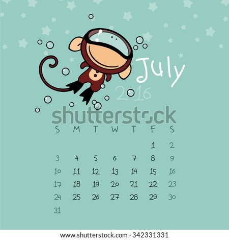 Calendar for the year 2016 - July - stock vector