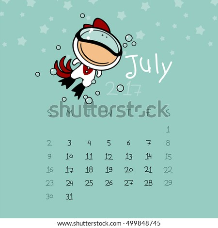 Calendar for the year 2017 - July