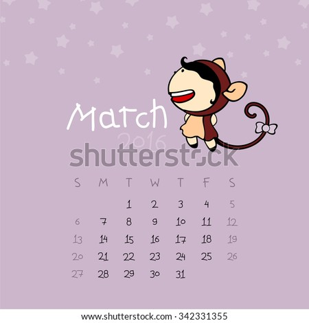 Calendar for the year 2016 - March - stock vector