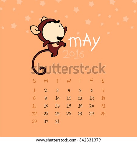Calendar for the year 2016 - May - stock vector