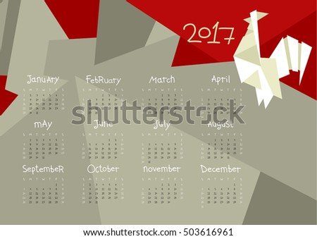 Calendar for the year 2017 with origami Rooster, horizontal