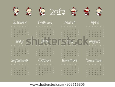 Calendar for the year 2017 - year of the Rooster