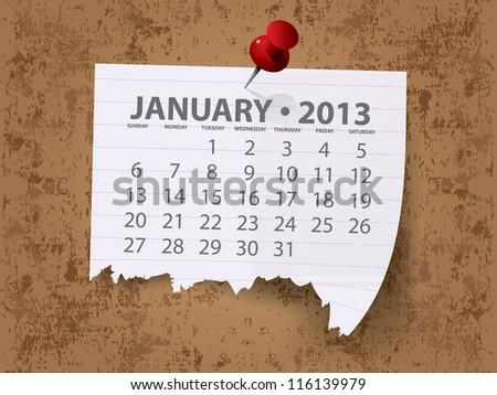 Calendar for 2013 vector - stock vector