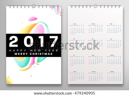Calendar for 2017 vector template with abstract watercolor pattern. Week starts from sunday.