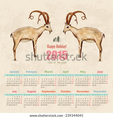 calendar for 2015. watercolor painting of goat  - stock vector