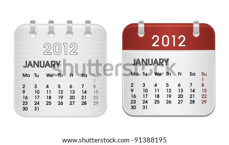 Calendar for 2012, web icon collection, January, vector illustration - stock vector