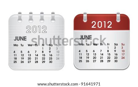 Calendar for 2012, web icon collection, June, vector illustration - stock vector