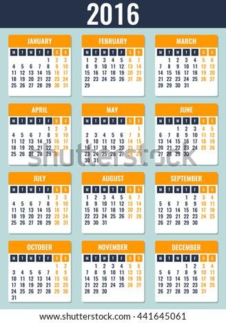 Calendar for 2016. Week Starts Monday. Simple Vector Template - stock vector