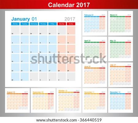 Calendar for 2017. Week Starts Monday. Vector. - stock vector