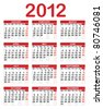 Calendar for 2012, Week starts on Sunday. - stock photo