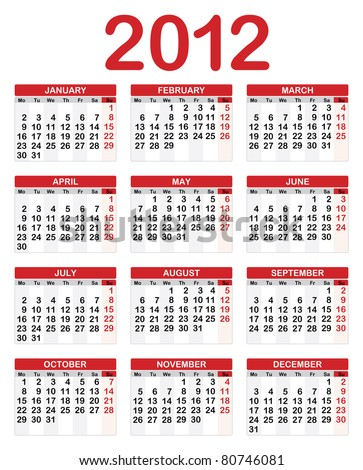 Calendar for 2012, Week starts on Sunday. - stock vector