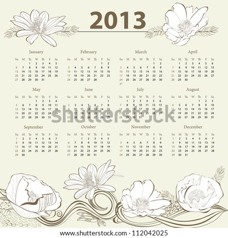 Calendar for 2013 with flowers - stock vector
